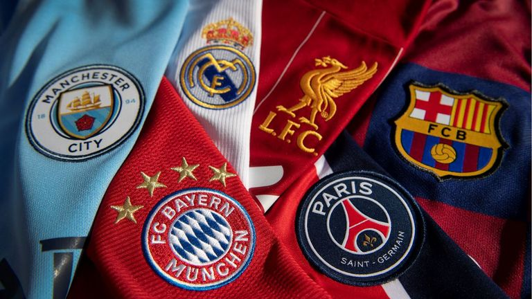 MANCHESTER, ENGLAND - OCTOBER 20: The badges of Manchester City, Bayern Munich, Real Madrid, Liverpool, Paris St-Germain and FC Barcelona, the top teams in the Champions League on October 20, 2020 in Manchester, United Kingdom. (Photo by Visionhaus)