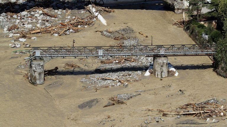 A bridge in the Roquebilliere commune was destroyed