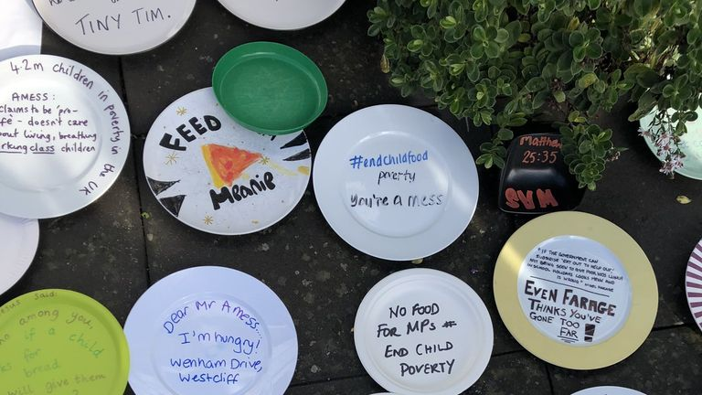 Empty plates left outside Conservative MP Sir David Amess Southend offices in protest over the party voting against plans to extend free school meals over holidays