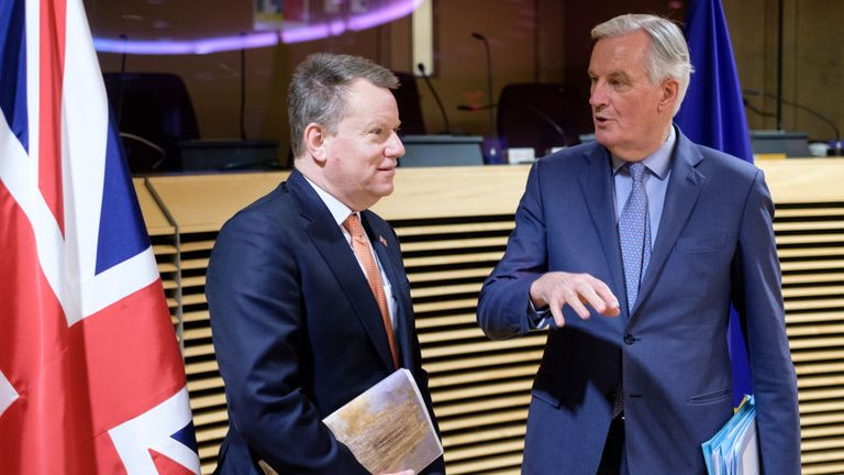 British Chief Negotiator of Task Force Europe at the Cabinet Office David George Hamilton Frost with the European Union Head of the UK Task Force Michel Barnier (R)
