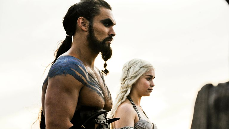 Emilia Clarke and Jason Momoa in series one of Game of Thrones. Pic: Sky UK/ HBO