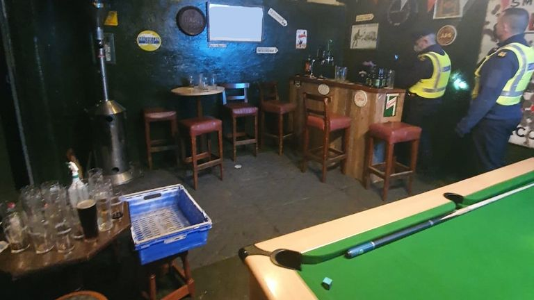 Officers discovered a fully operational bar - complete with pool table - near Athy, Co Kildare