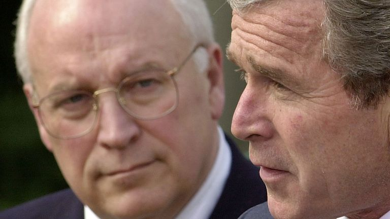 George W Bush and Dick Cheney in 2002