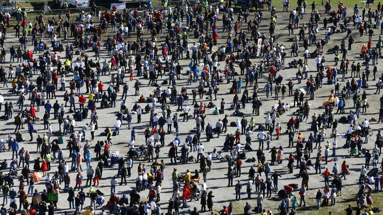Thousands of protesters demonstrated against restrictions