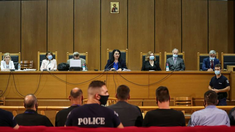 Presiding judge Maria Lepenioti attends a trial of leaders and members of the Golden Dawn far-right party in a court in Athens, Greece