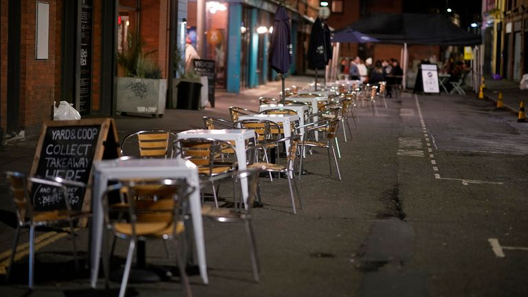 Empty tables and chairs on the eve of new Tier-3 Covid-19 restrictions on October 22, 2020 in Manchester, England