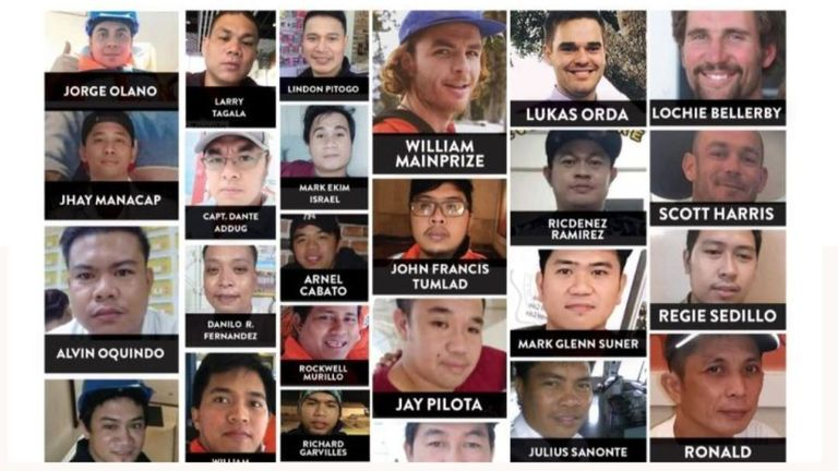 Photos of some of the 40 men lost at sea after a ship capsized off the coast of Japan. Pic: Supplied