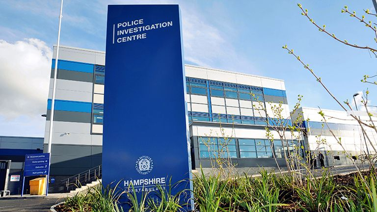 The covert recording was taken at Hampshire Police's Northern Police Investigation Centre in Basingstoke. Pic: Hampshire Police and Crime Commissioner's office