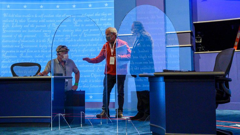 Perspex screens will separate Pence and Harris during the debate