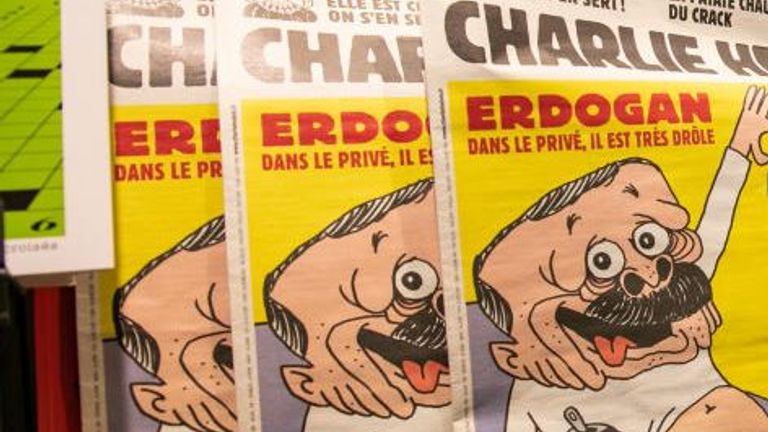 PARIS, FRANCE - OCTOBER 28: French satirical weekly Charlie Hebdo's edition displaying a cover with a satirical drawing representing Turkish President Tayyip Erdogan is displayed for sale on October 28, 2020 in Paris, France. Turkey says it will take legal measures against Charlie Hebdo magazine in Paris after publication of a caricature of Turkish President Erdogan. (Photo by Marc Piasecki/Getty Images)