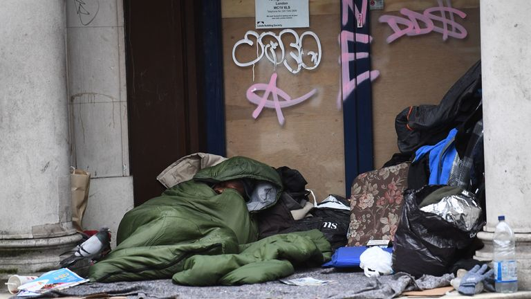Homeless people face the threat of coronavirus and the cold weather