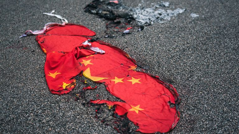 Several occasions saw protesters in Hong Kong setting fire to a Chinese flag