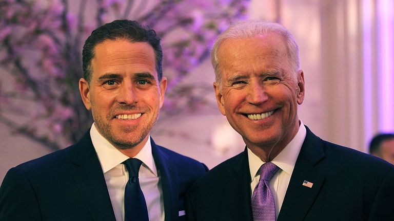 WASHINGTON, DC - APRIL 12: World Food Program USA Board Chairman Hunter Biden (L) and U.S. Vice President Joe Biden attend the World Food Program USA's Annual McGovern-Dole Leadership Award Ceremony at Organization of American States on April 12, 2016 in Washington, DC. (Photo by Teresa Kroeger/Getty Images for World Food Program USA)