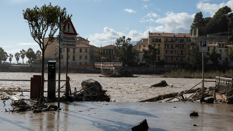 The collapsed Squarciafichi walkway (Rear) is pictured by the Roya river in Ventimiglia on October 3, 2020 after it flooded overnight, submerging the whole city with water and mud.