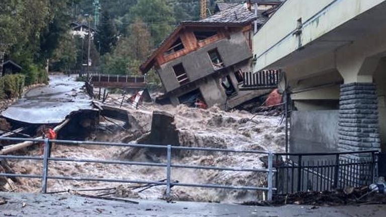 A building under renovation that collapsed next to a watercourse in Limone Piemonte, near Cuneo, Piedmont.