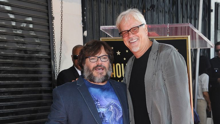 Jack Black (L) is among a host of Hollywood stars appearing alongside Tim Robbins in the podcast. File pic