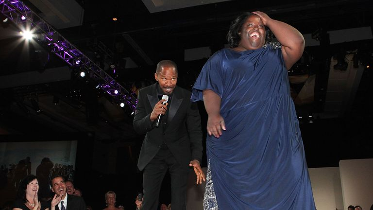 Ms Dixon and Foxx performing at a Global Down Syndrome Foundation event in 2011