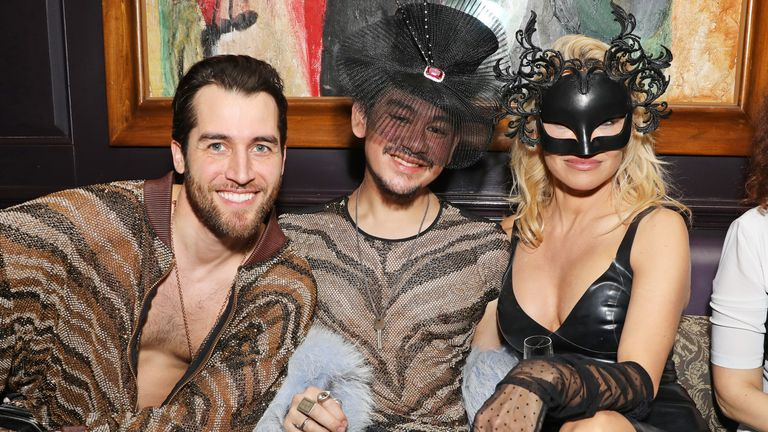 LONDON, ENGLAND - DECEMBER 05: (L to R) Jared Murillo, Prince Azim of Brunei and Pamela Anderson attend the launch of Pamela Anderson's exclusive Coco De Mer collection at Morton's on December 5, 2017 in London, England. (Photo by David M. Benett/Dave Benett/Getty Images)