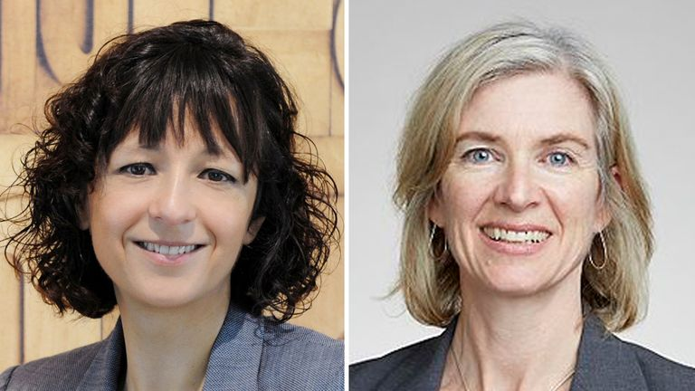 Professors Emmanuelle Charpentier (left) and Jennifer Doudna