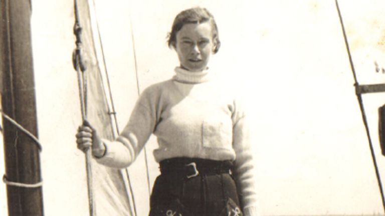 Joan Hocquard was a keen sailor, pictured here on her yacht
