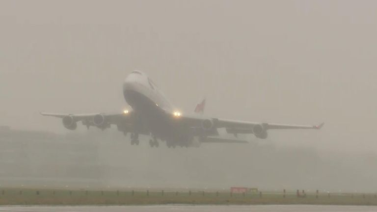 The last two British Airways 747 jumbo jets take off from Heathrow Airport