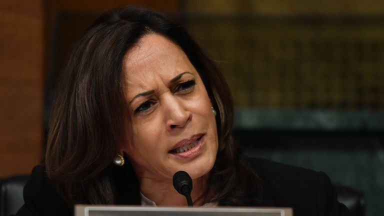 Ms Harris questions US Attorney General William Barr over alleged Russian interference in the 2016 election
