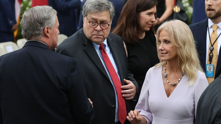 Kellyanne Conway speaks to attorney general William Barr
