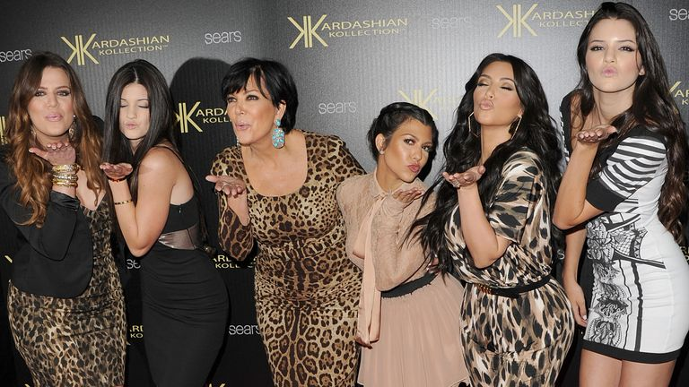 HOLLYWOOD, CA - AUGUST 17: Khloe Kardasian, Kylie Jenner, Kris Kardashian, Kourtney Kardashian, Kim Kardashian, and Kendall Jenner attend the Kardashian Kollection Launch Party at The Colony on August 17, 2011 in Hollywood, California