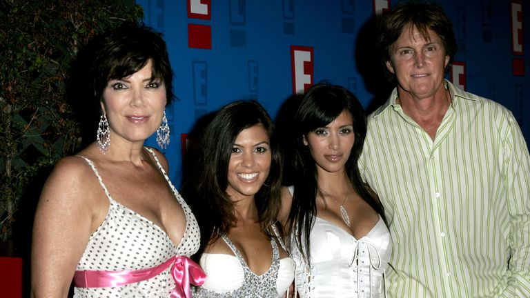 Kris Kardashian, Kourtney Kardashian, Kim Kardashian and Bruce Jenner (now Caitlin) in 2005