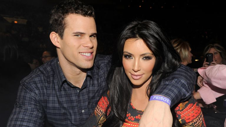 Kim Kardashian and Kris Humphries watch Prince perform during his Welcome 2 America tour at Madison Square Garden on 7 February 2011 in New York City