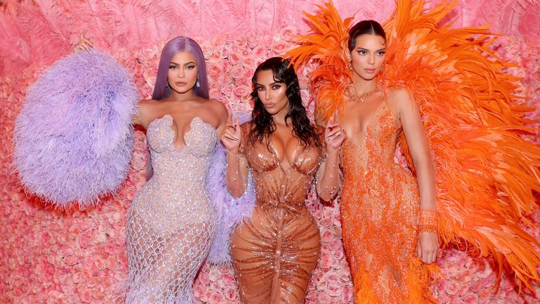 Kim Kardashian and Kylie and Kendall Jenner at the Met Gala in 2019