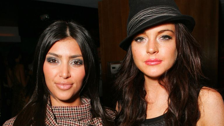 Kim Kardashian and Lindsay Lohan in 2006