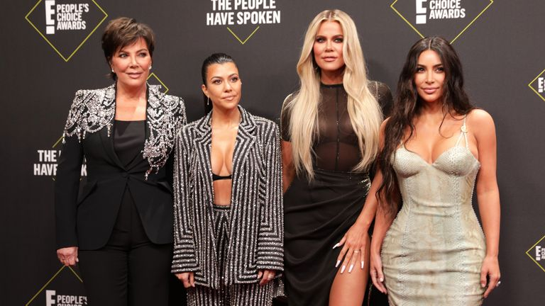 (L-R): Kris Jenner and Kourtney, Khloe and Kim Kardashian at the People's Choice Awards in LA in 2019