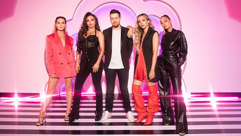 Little Mix The Search is hosted by Chris Ramsay. Pic: BBC