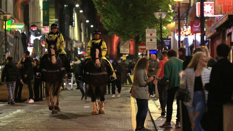 Police officers are seen in Liverpool as people enjoyed a night out in October