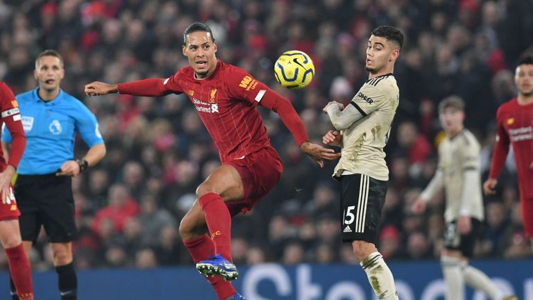 Liverpool defender Virgil van Dijk, left, competes for the ball against Manchester United's Andreas Pereira