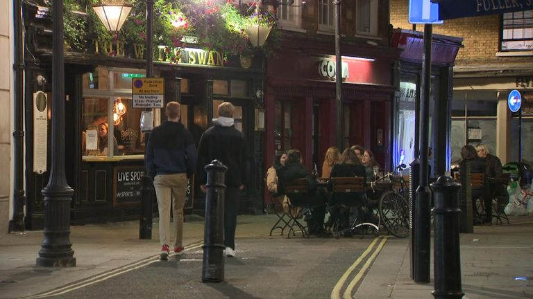 Drinkers in central London