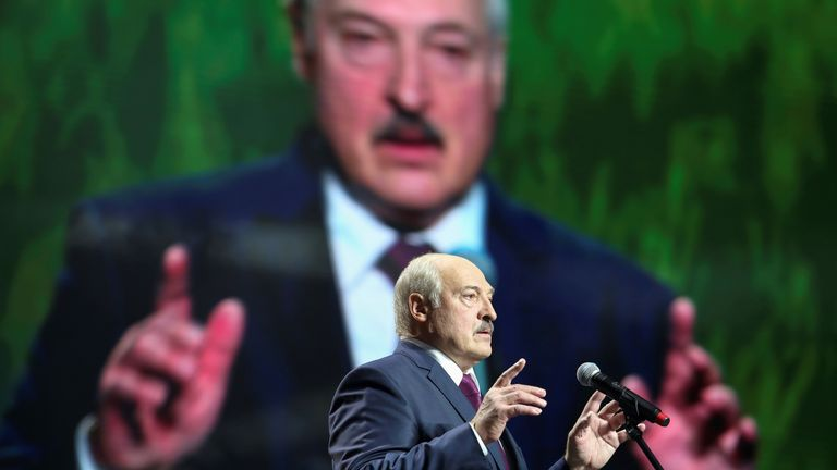 FILE PHOTO: Belarusian President Alexander Lukashenko speaks at the forum of Union of Women in Minsk, Belarus September 17, 2020. Tut.By via REUTERS ATTENTION EDITORS - THIS IMAGE WAS PROVIDED BY A THIRD PARTY. MANDATORY CREDIT/File Photo