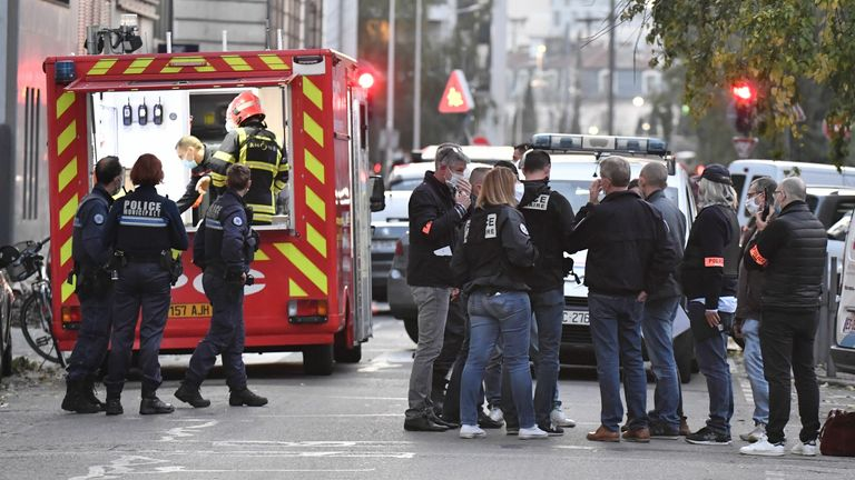 Security and emergency personnel are on October 31, 2020 in Lyon at the scene where an attacker armed with a sawn-off shotgun wounded an Orthodox priest in a shooting before fleeing, said a police source. - The priest, who has Greek nationality, was closing his church when the attack happened and is now in a serious condition, said the source, who asked not to be named. The shooting comes three days after three people were killed in a knife rampage. Pic: Getty
