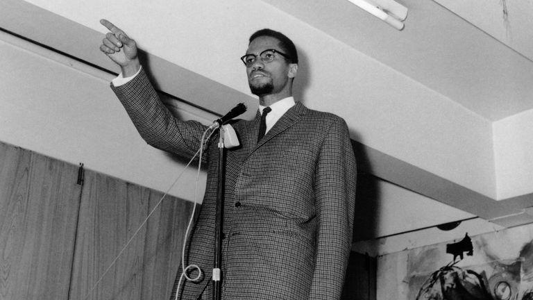 Malcolm X speaking in the UK in November 1964