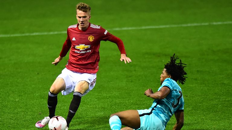 LEIGH, ENGLAND - SEPTEMBER 25: Lukasz Bejger of Manchester United U23s in action during the Premier League 2 match between Manchester United U23s and Liverpool U23s at Leigh Sports Village on September 25, 2020 in Leigh, England. (Photo by Manchester United/Manchester United via Getty Images)