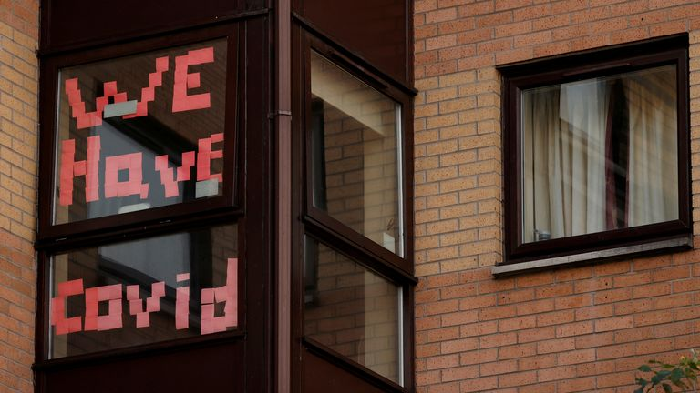 A sign displayed in the window of a student accommodation building in Manchester