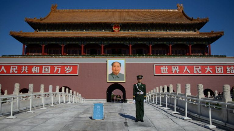 Mao Zedong is pictured at the entrance to the Forbidden City in Beijing