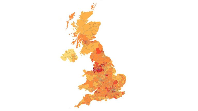 Map showing where in the UK people signed from who support Marcus Rashford's petition to extend free school meals