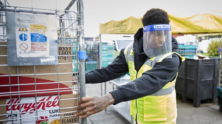 Marcus Rashford helping out at FareShare Greater Manchester