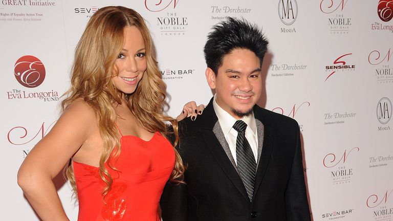 LONDON, UNITED KINGDOM - DECEMBER 10: Mariah Carey and Prince Azim attend the Noble Gift Gala at The Dorchester on December 10, 2011 in London, England. (Photo by Eamonn McCormack/WireImage)