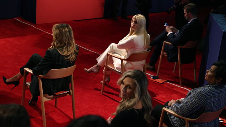 (Left to right) Melania, Ivanka and Eric Trump not wearing masks during Tuesday's presidential debate