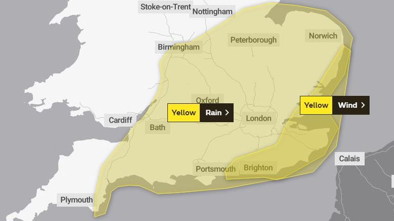 A Met Office map shows a large area of the UK which faces possible disruption from Storm Barbara