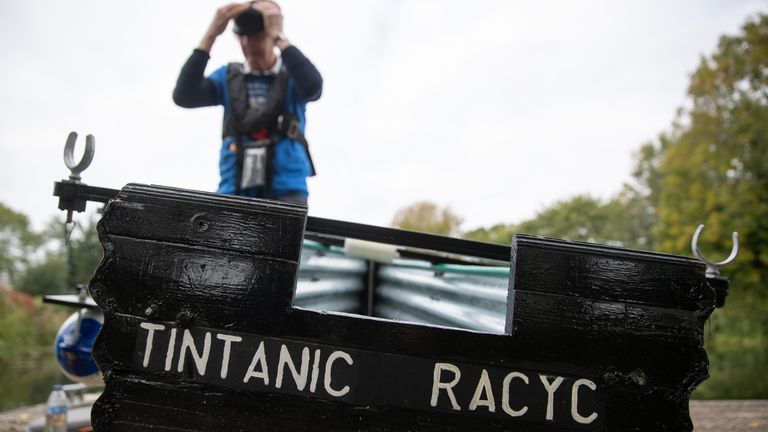 Michael Stanley, who is also known as 'Major Mick', sets off from Hunston, West Sussex, to row along the Chichester canal in his home-made rowing boat, named the Tintanic. Major Mick, 80, is rowing along the Chichester canal for a 100-mile charity challenge, travelling 3 miles at a time, to raise money for St Wilfrid's Hospice in Bosham.