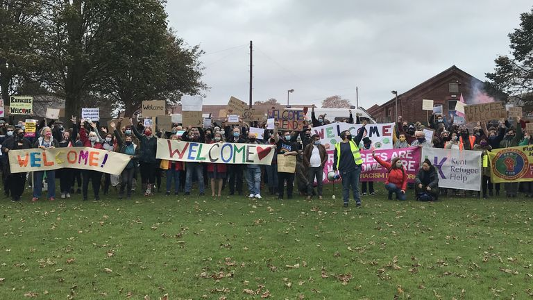 More than 100 locals gathered to greet their 'new neighbours'